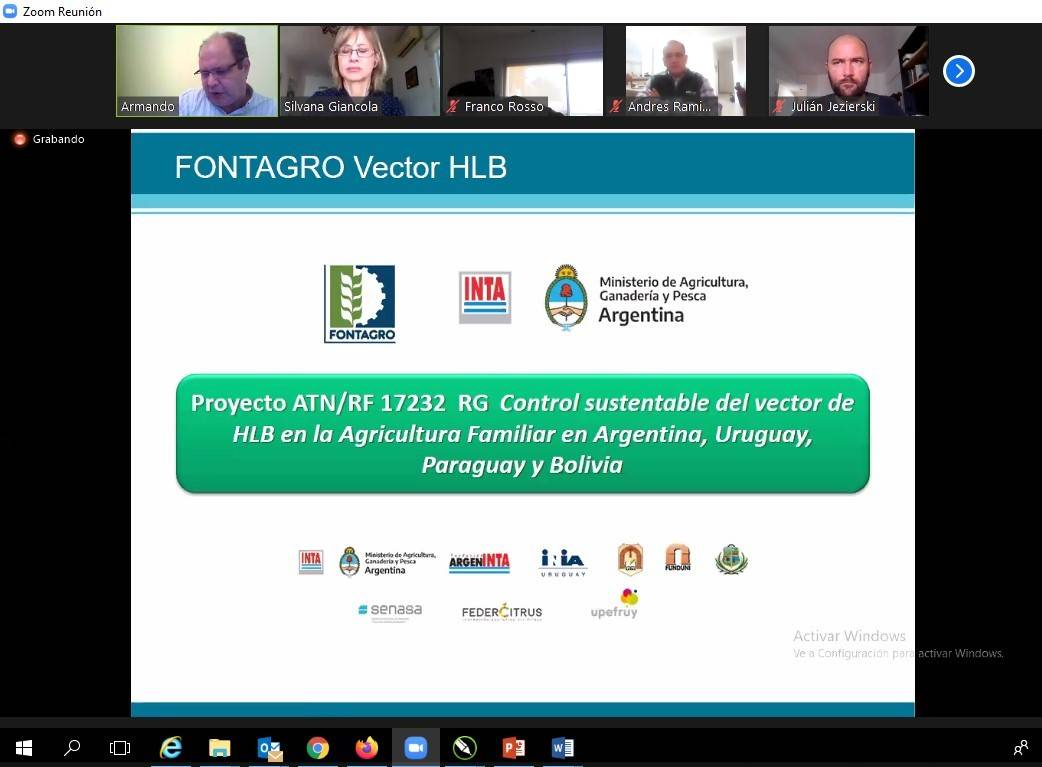 Presentation early alert system prototype: BioTic INTA - Fontagro HLB free access web portal / smartphone