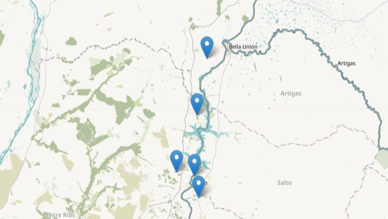 Mapa de sitios de Entre Ríos y Corrientes (Argentina) y Salto (Uruguay)